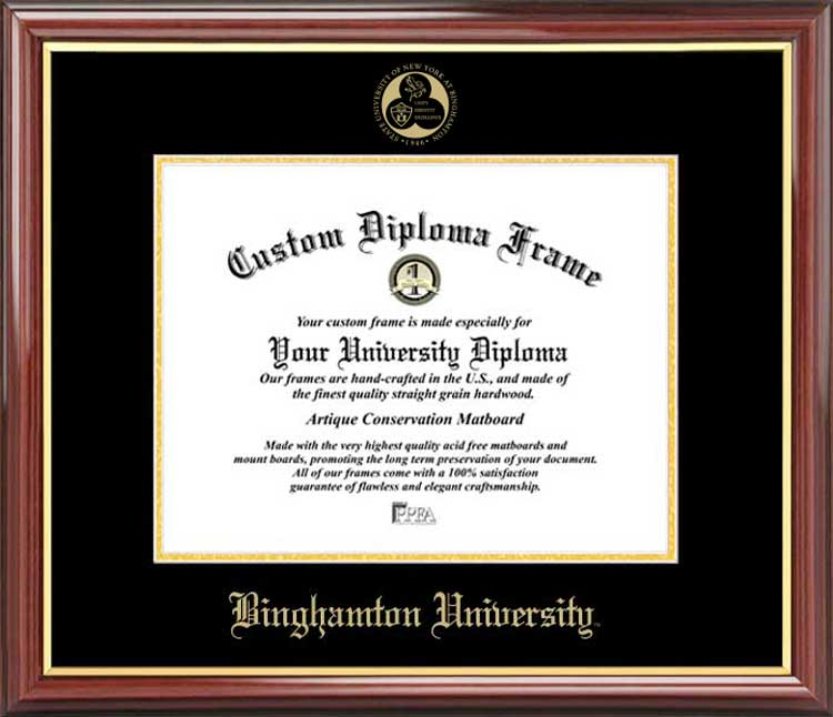 College - Binghamton University, SUNY Bearcats - Embossed Seal - Mahogany Gold Trim - Diploma Frame