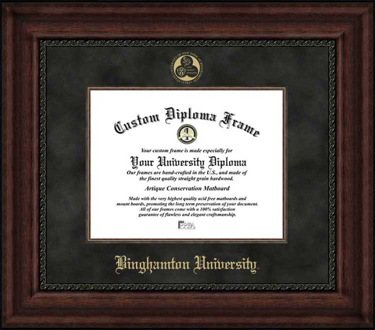 College - Binghamton University, SUNY Bearcats - Embossed Seal - Suede Mat - Mahogany - Diploma Frame