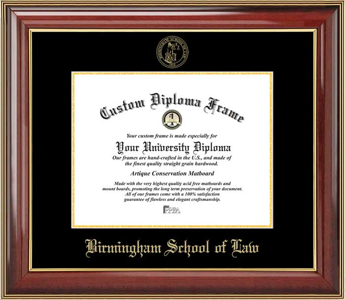 College - Birmingham School of Law  - Embossed Seal - Mahogany Gold Trim - Diploma Frame