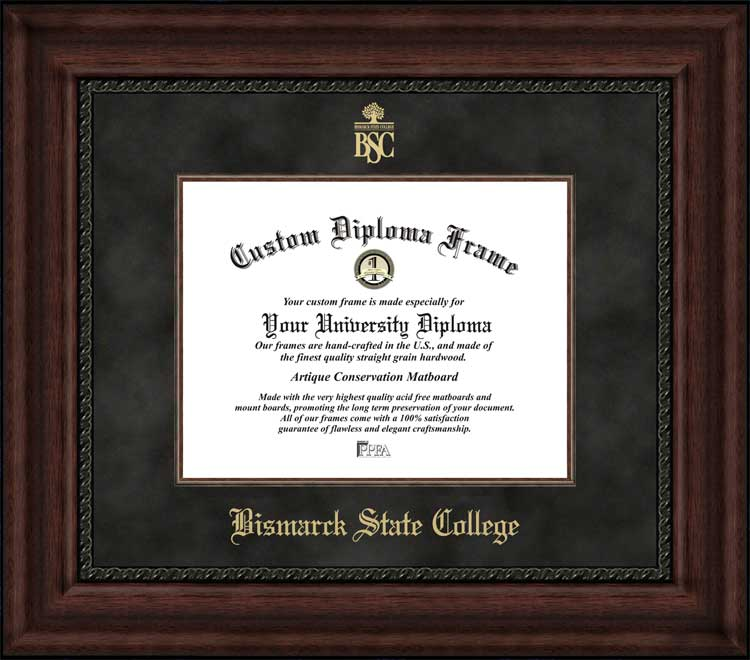 College - Bismarck State College Mystics - Embossed Seal - Suede Mat - Mahogany - Diploma Frame