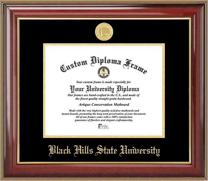 College - Black Hills State University Yellow Jackets - Gold Medallion - Mahogany Gold Trim - Diploma Frame