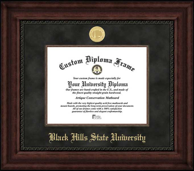 College - Black Hills State University Yellow Jackets - Gold Medallion - Suede Mat - Mahogany - Diploma Frame