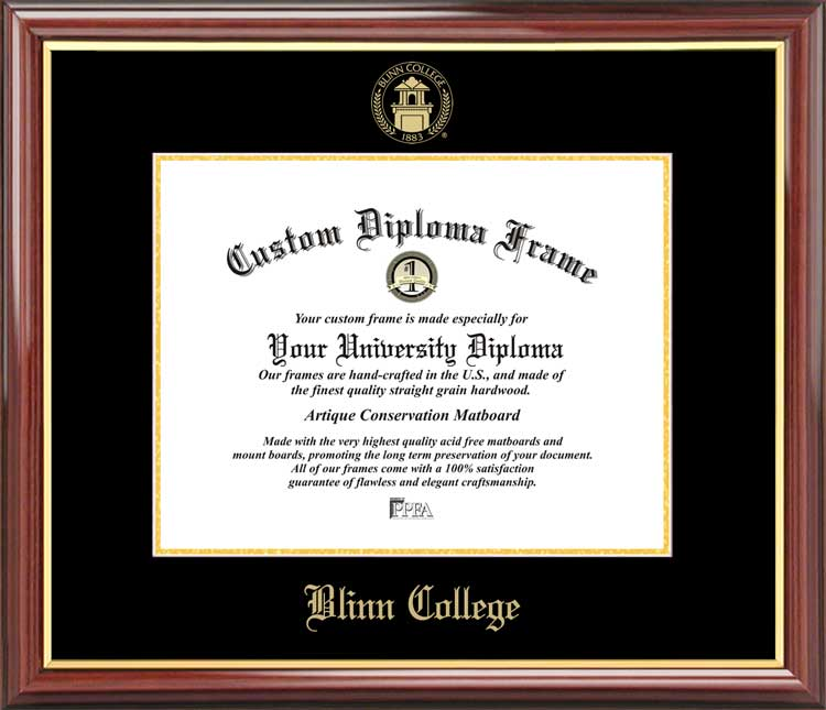 College - Blinn College Buccaneers - Embossed Seal - Mahogany Gold Trim - Diploma Frame