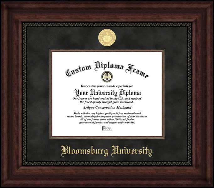 College - Bloomsburg University Huskies - Gold Medallion - Suede Mat - Mahogany - Diploma Frame