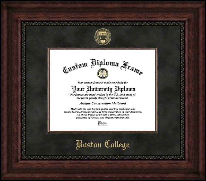 College - Boston College Eagles - Embossed Seal - Suede Mat - Mahogany - Diploma Frame