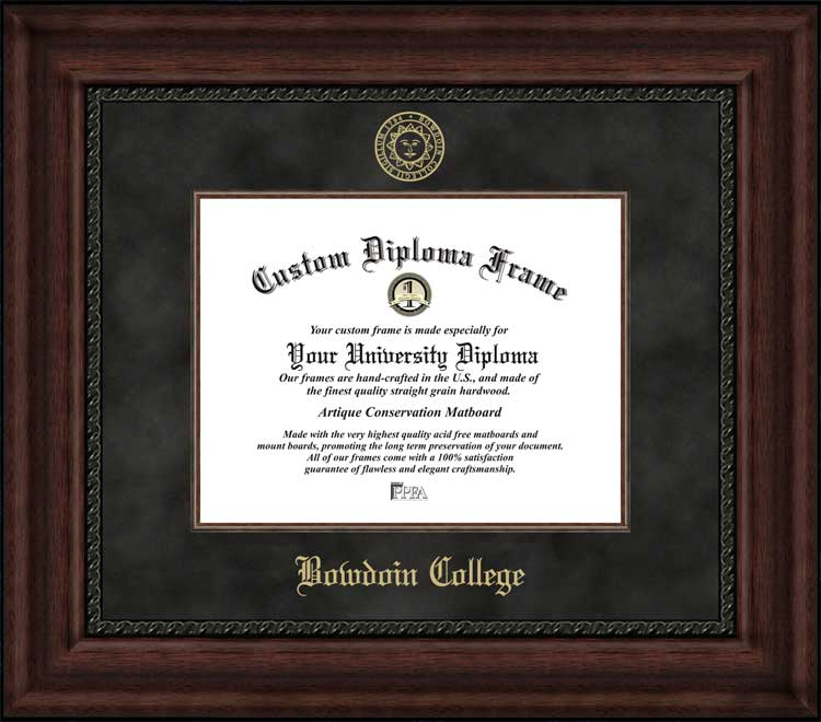 College - Bowdoin College Polar Bears - Embossed Seal - Suede Mat - Mahogany - Diploma Frame