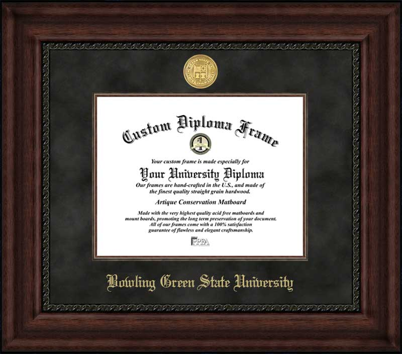 College - Bowling Green State University Falcons - Gold Medallion - Suede Mat - Mahogany - Diploma Frame