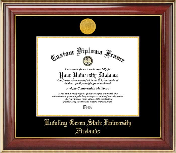 College - Bowling Green State University Firelands  - Gold Medallion - Mahogany Gold Trim - Diploma Frame