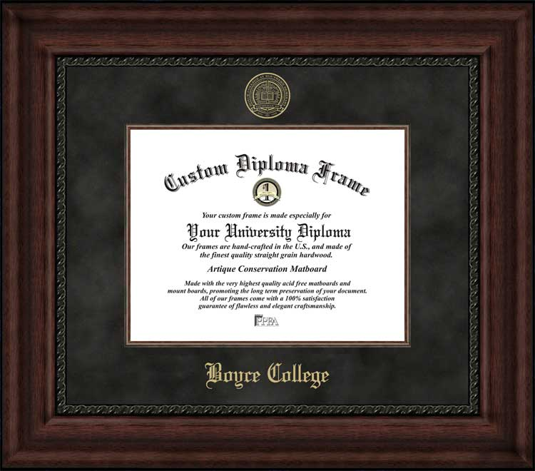College - Boyce College Bulldogs - Embossed Seal - Suede Mat - Mahogany - Diploma Frame