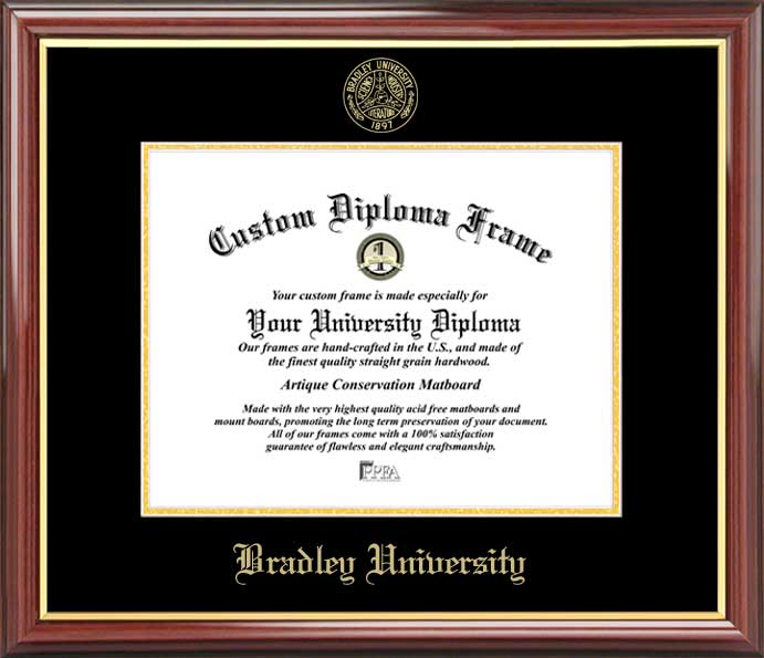 College - Bradley University Braves - Embossed Seal - Mahogany Gold Trim - Diploma Frame