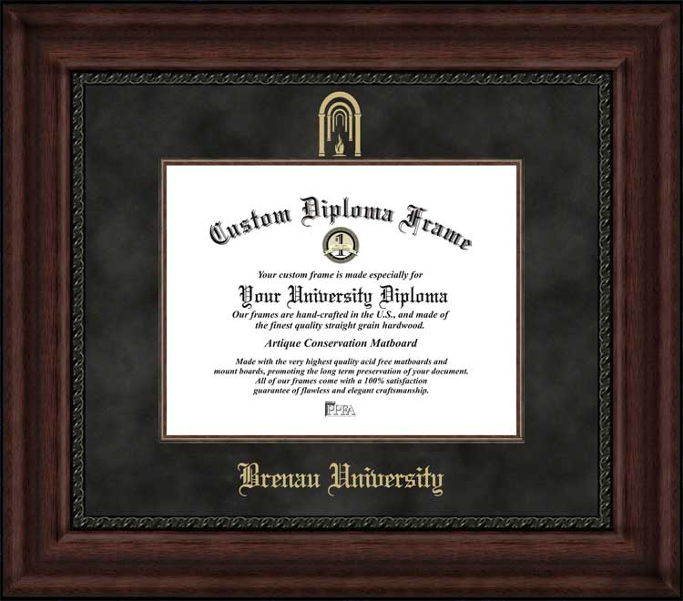 College - Brenau University Golden Tigers - Embossed Logo - Suede Mat - Mahogany - Diploma Frame