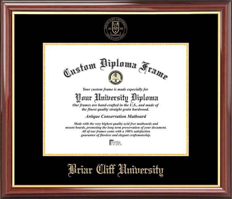 College - Briar Cliff University Chargers - Embossed Seal - Mahogany Gold Trim - Diploma Frame
