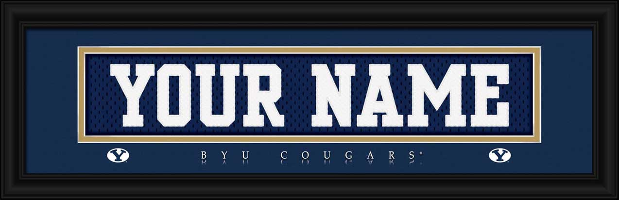 College - Brigham Young Cougars - Personalized Jersey Nameplate - Framed Picture
