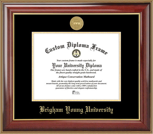 College - Brigham Young University Cougars - Gold Medallion - Mahogany Gold Trim - Diploma Frame