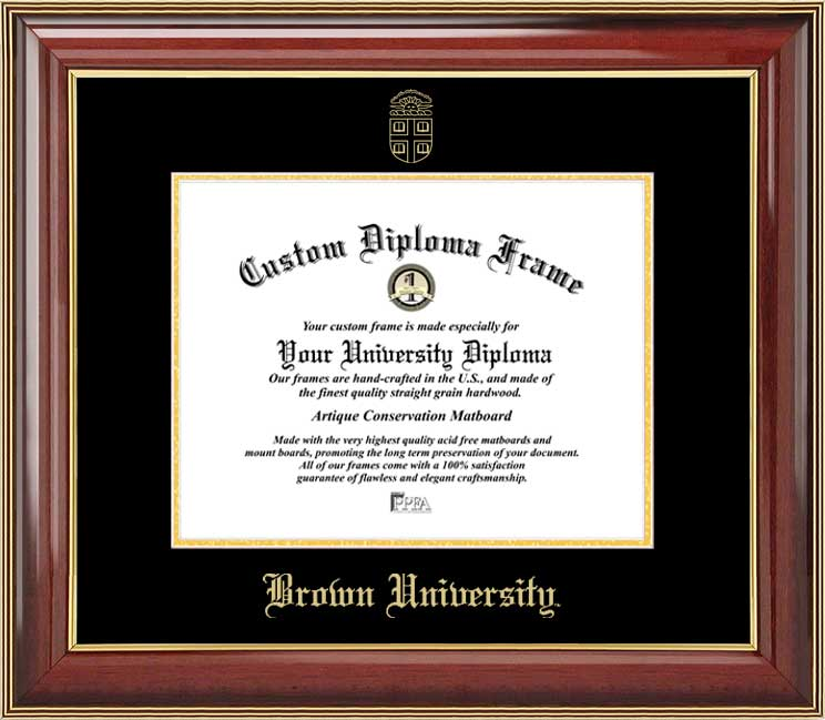 College - Brown University Bears - Embossed Seal - Mahogany Gold Trim - Diploma Frame