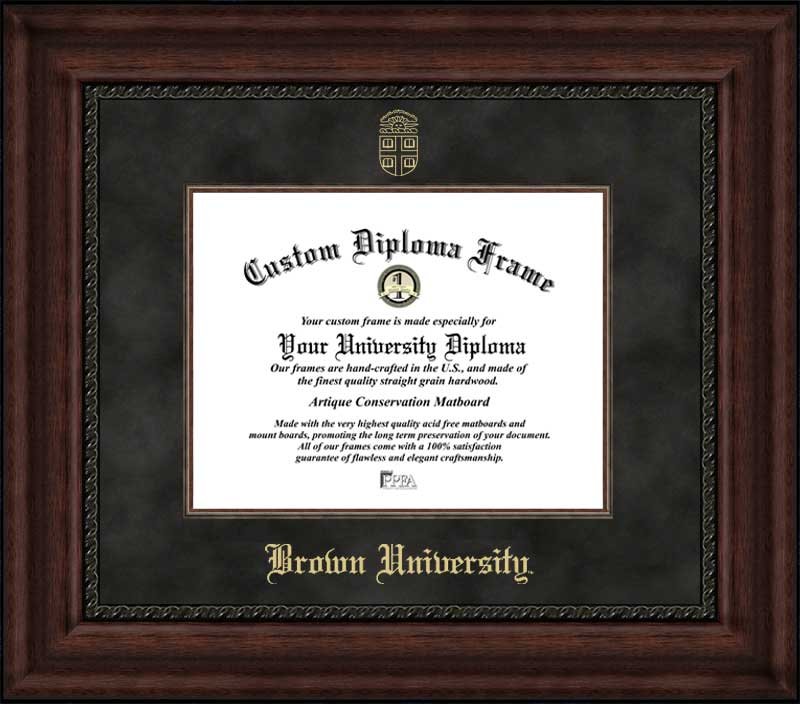 College - Brown University Bears - Embossed Seal - Suede Mat - Mahogany - Diploma Frame