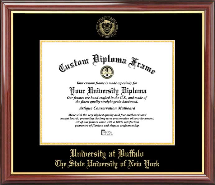 College - University at Buffalo, SUNY Bulls - Embossed Seal - Mahogany Gold Trim - Diploma Frame