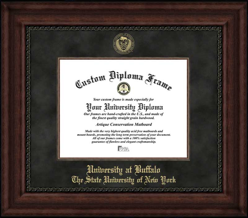 College - University at Buffalo, SUNY Bulls - Embossed Seal - Suede Mat - Mahogany - Diploma Frame
