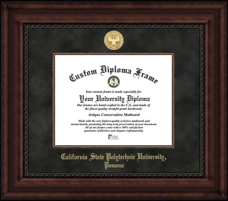 College - Cal State Polytechnic University Pomona Broncos - Gold Medallion - Suede Mat - Mahogany - Diploma Frame