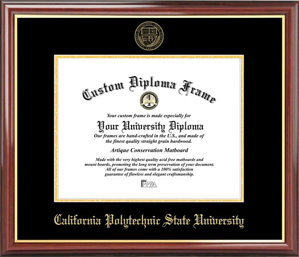 College - Cal Poly State University - San Luis Obispo Mustangs - Embossed Seal - Mahogany Gold Trim - Diploma Frame
