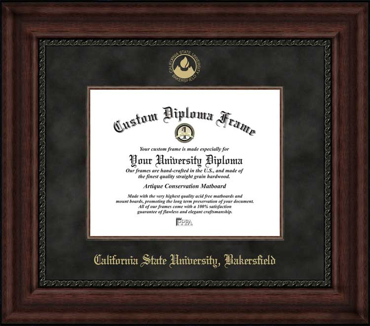 College - California State University Bakersfield Roadrunners - Embossed Logo - Suede Mat - Mahogany - Diploma Frame