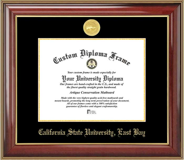 College - California State University East Bay Pioneers - Gold Medallion - Mahogany Gold Trim - Diploma Frame