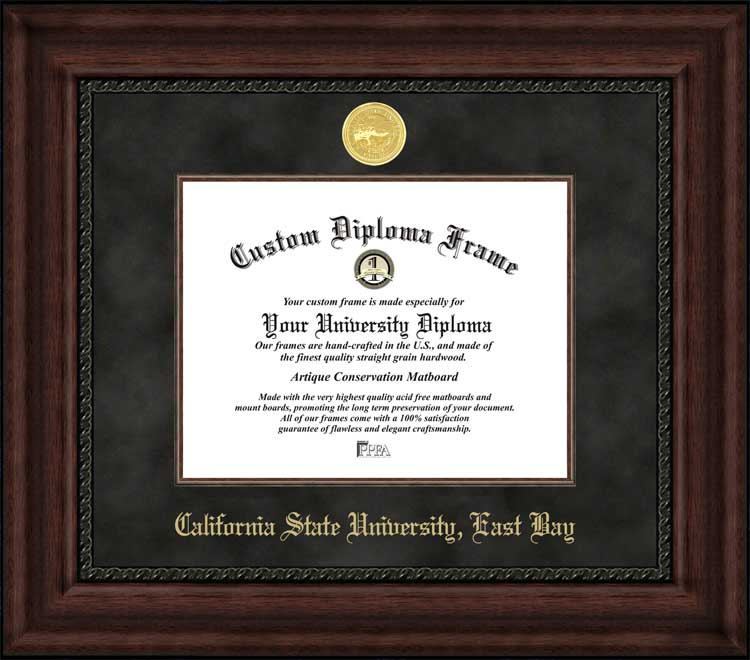 College - California State University East Bay Pioneers - Gold Medallion - Suede Mat - Mahogany - Diploma Frame