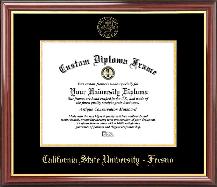 College - California State University Fresno Bulldogs - Embossed Seal - Mahogany Gold Trim - Diploma Frame