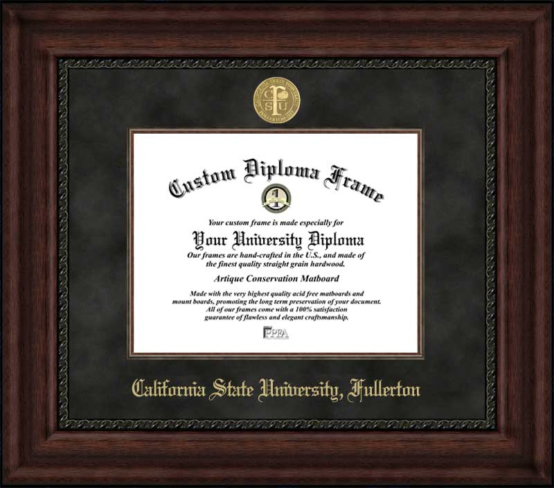 College - California State University Fullerton Titans - Gold Medallion - Suede Mat - Mahogany - Diploma Frame