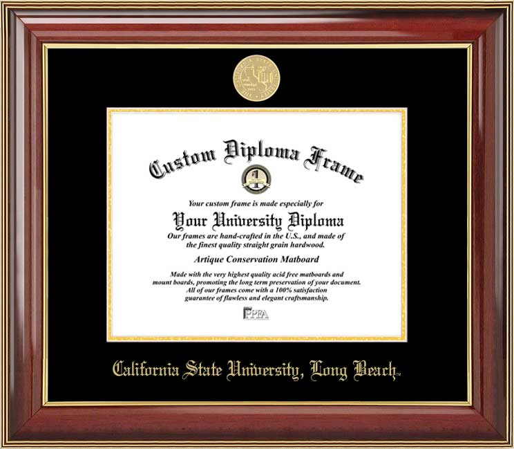 College - California State University Long Beach 49ers - Gold Medallion - Mahogany Gold Trim - Diploma Frame