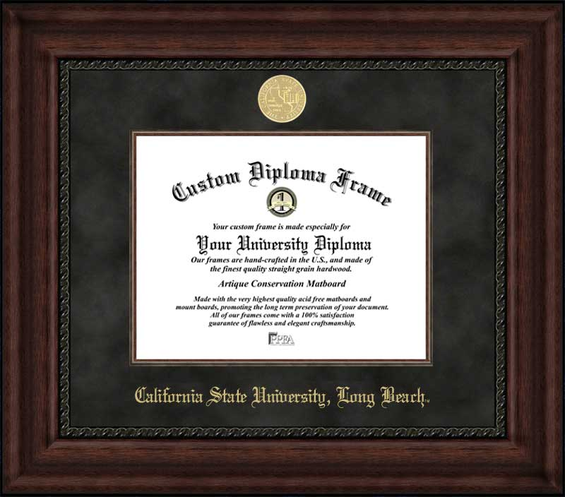 College - California State University Long Beach 49ers - Gold Medallion - Suede Mat - Mahogany - Diploma Frame