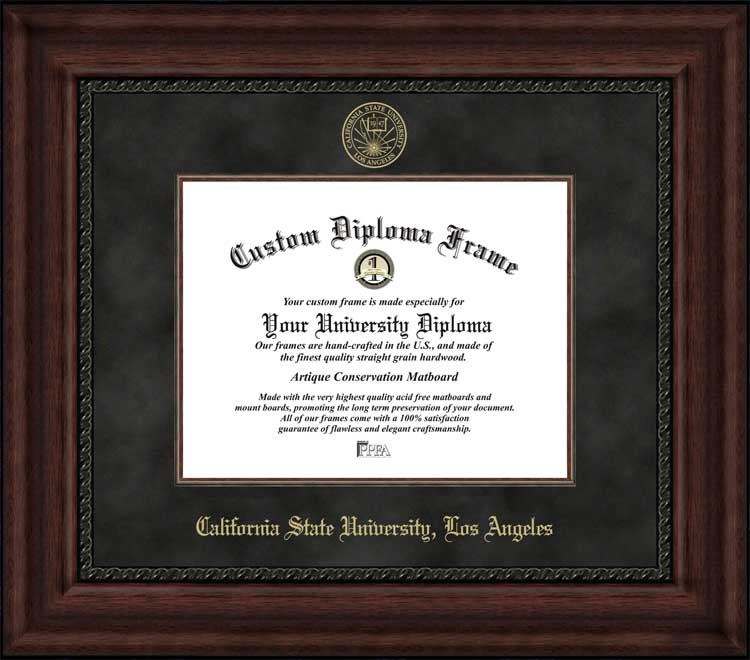 College - California State University Los Angeles Golden Eagles - Embossed Seal - Suede Mat - Mahogany - Diploma Frame