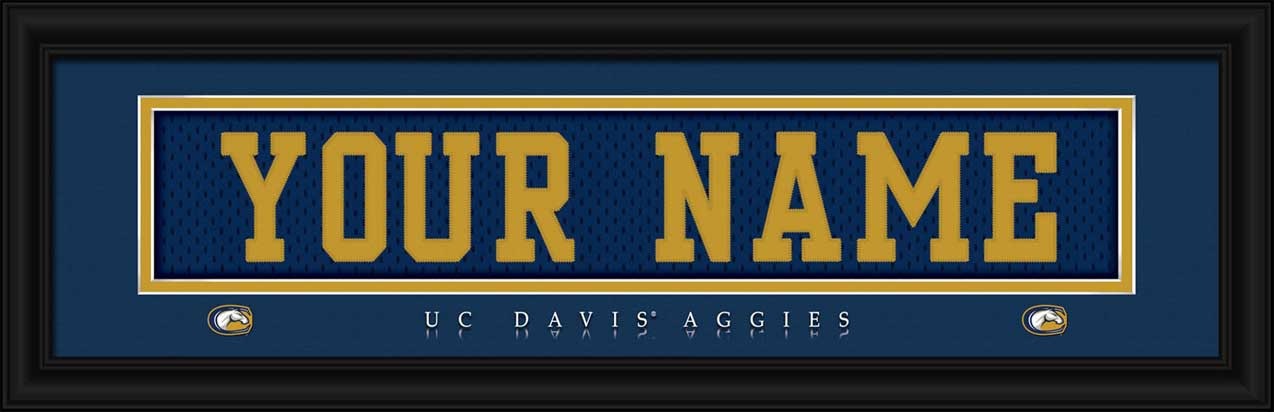 College - California Davis Aggies - Personalized Jersey Nameplate - Framed Picture