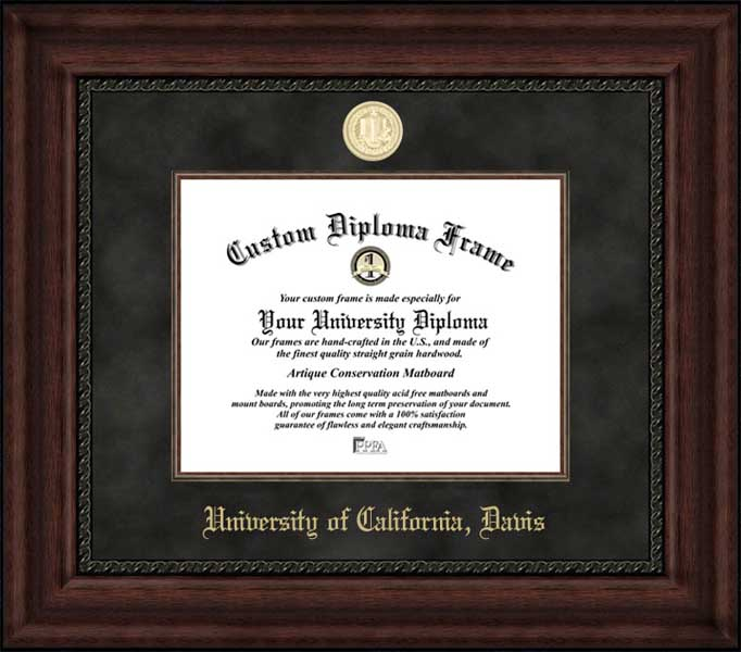 College - University of California Davis Aggies - Gold Medallion - Suede Mat - Mahogany - Diploma Frame