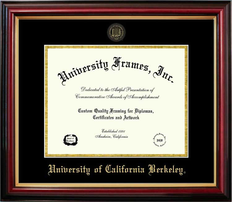College - University of California Berkeley Golden Bears - Embossed Seal - Mahogany Gold Trim - Diploma Frame