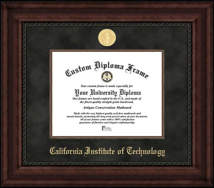 College - California Institute of Technology Beavers - Gold Medallion - Suede Mat - Mahogany - Diploma Frame