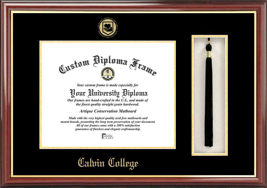 College - Calvin College Knights - Embossed Seal - Tassel Box - Mahogany - Diploma Frame