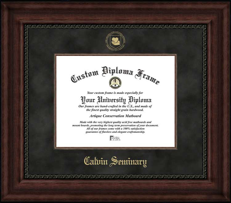 College - Calvin Theological Seminary  - Embossed Seal - Suede Mat - Mahogany - Diploma Frame