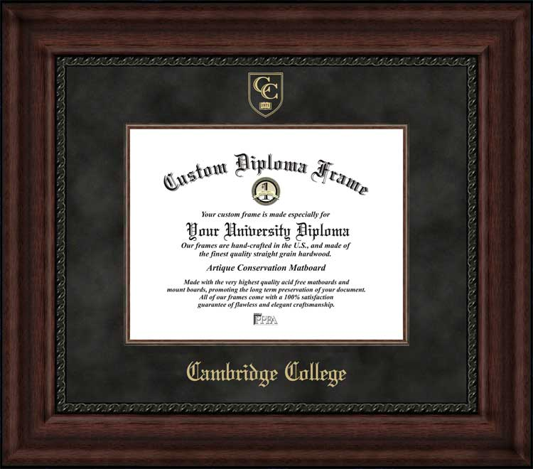 College - Cambridge College  - Embossed Seal - Suede Mat - Mahogany - Diploma Frame