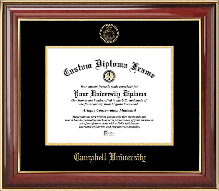 College - Campbell University Fighting Camels - Embossed Seal - Mahogany Gold Trim - Diploma Frame