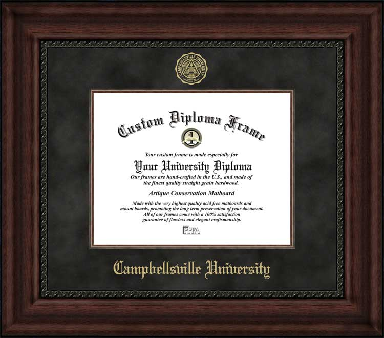 College - Campbellsville University Tigers - Embossed Seal - Suede Mat - Mahogany - Diploma Frame
