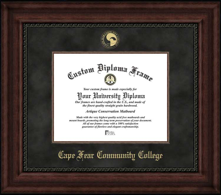 College - Cape Fear Community College Sea Devils - Embossed Seal - Suede Mat - Mahogany - Diploma Frame