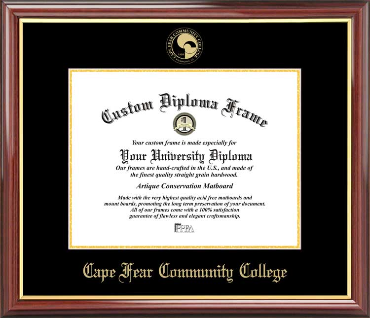 College - Cape Fear Community College Sea Devils - Embossed Seal - Mahogany Gold Trim - Diploma Frame