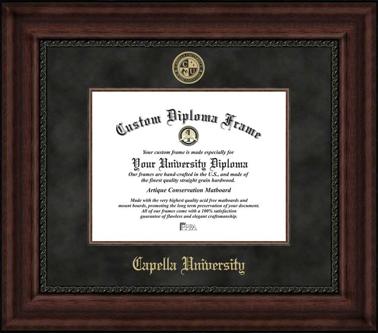 College - Capella University  - Embossed Seal - Suede Mat - Mahogany - Diploma Frame