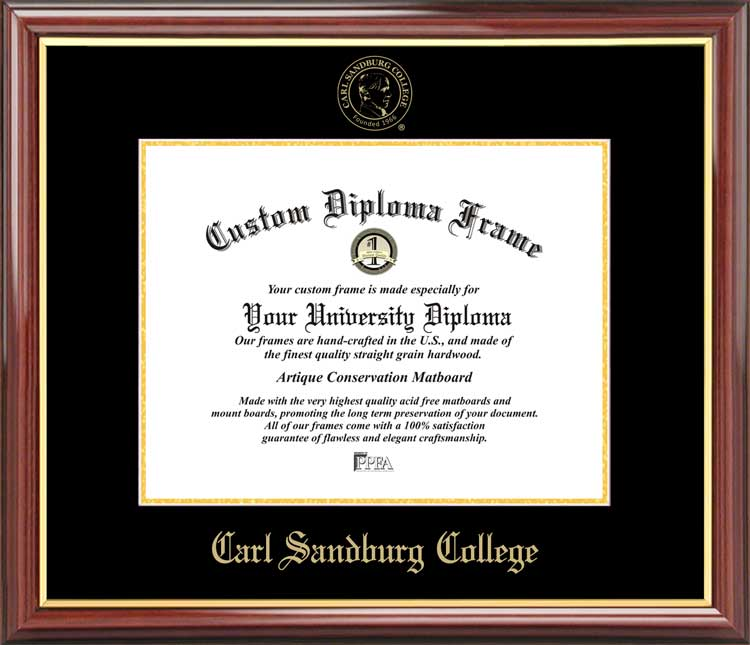 College - Carl Sandburg College  - Embossed Seal - Mahogany Gold Trim - Diploma Frame