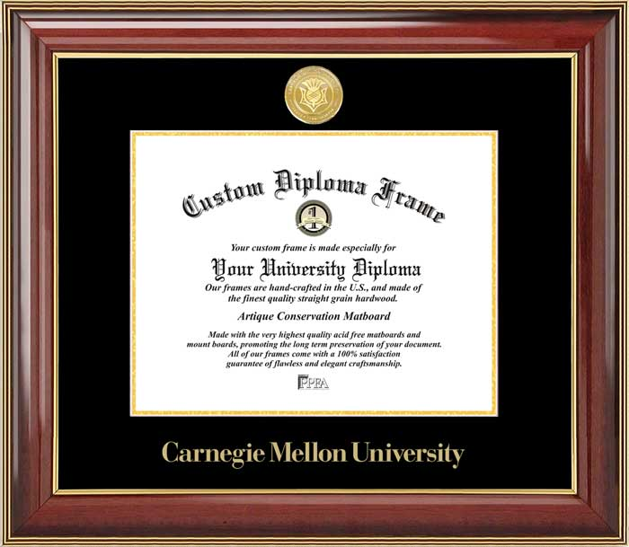 College - Carnegie Mellon University Tartans - Gold Medallion - Mahogany Gold Trim - Diploma Frame