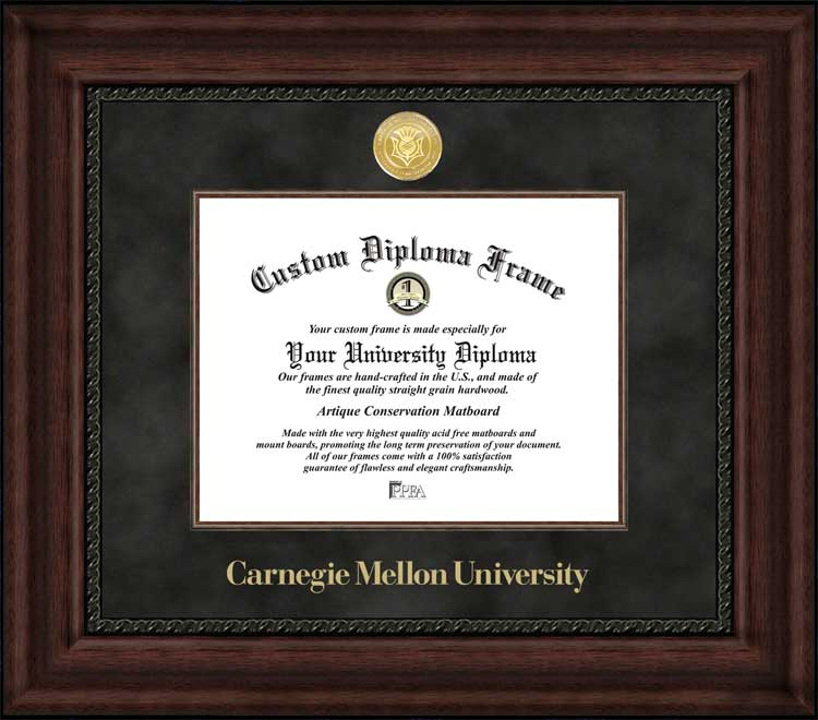 College - Carnegie Mellon University Tartans - Gold Medallion - Suede Mat - Mahogany - Diploma Frame