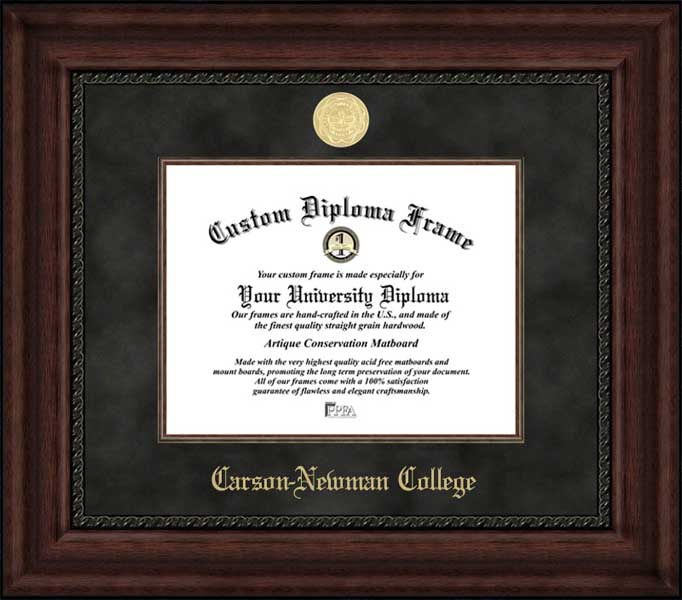 College - Carson-Newman College Eagles - Gold Medallion - Suede Mat - Mahogany - Diploma Frame
