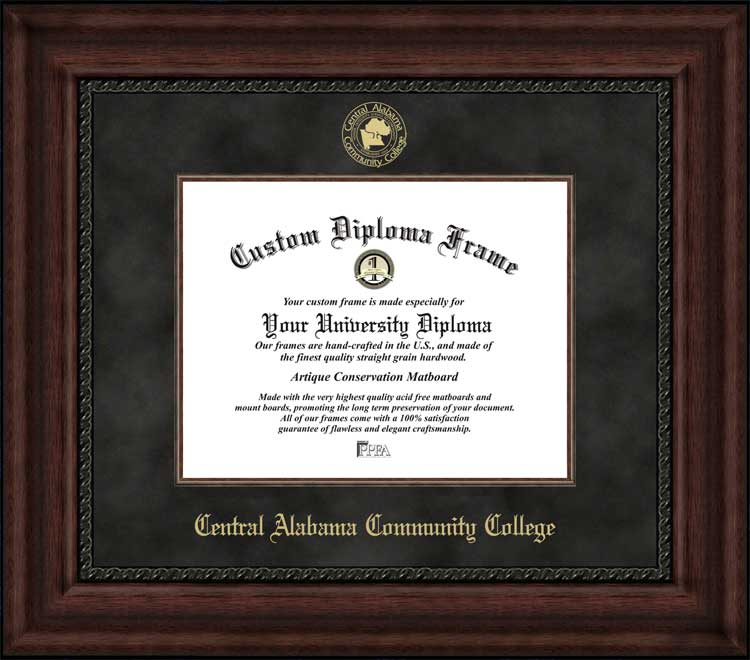 College - Central Alabama Community College Trojans - Embossed Seal - Suede Mat - Mahogany - Diploma Frame