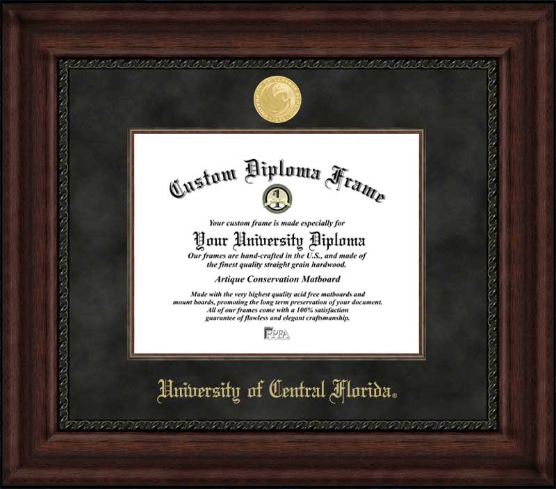 College - University of Central Florida Knights - Gold Medallion - Suede Mat - Mahogany - Diploma Frame